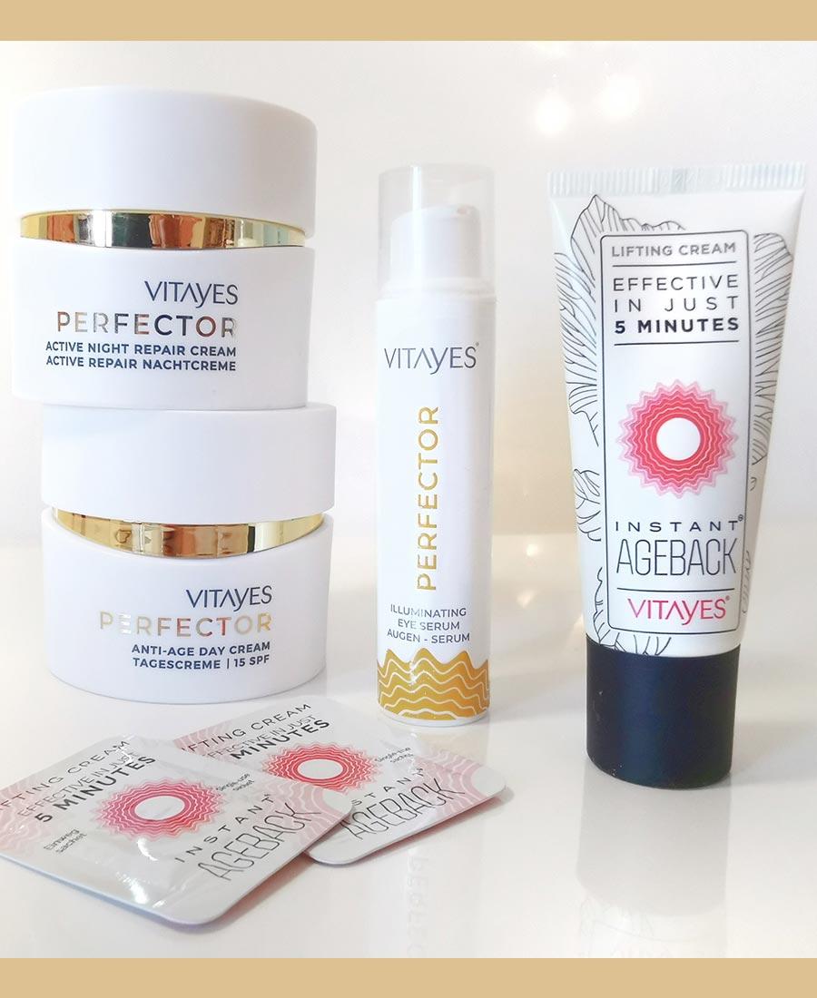 Linea PERFECTOR trattamto antiage per pelli mature, crema giorno idratante e crema notte rigenerante, siero illuminante contorno occhi