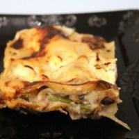 Lasagnes asperges vertes et champignons frais