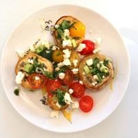 Salade aubergine, tomates cerises et feta