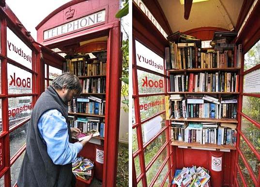 creatività cabine telefoniche come libreria