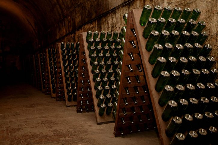 Cellar with wine stocks
