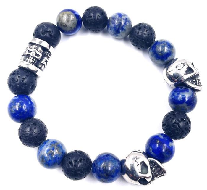 bracelet lapiz lazuli et pierre de Lave VitoArtMétal