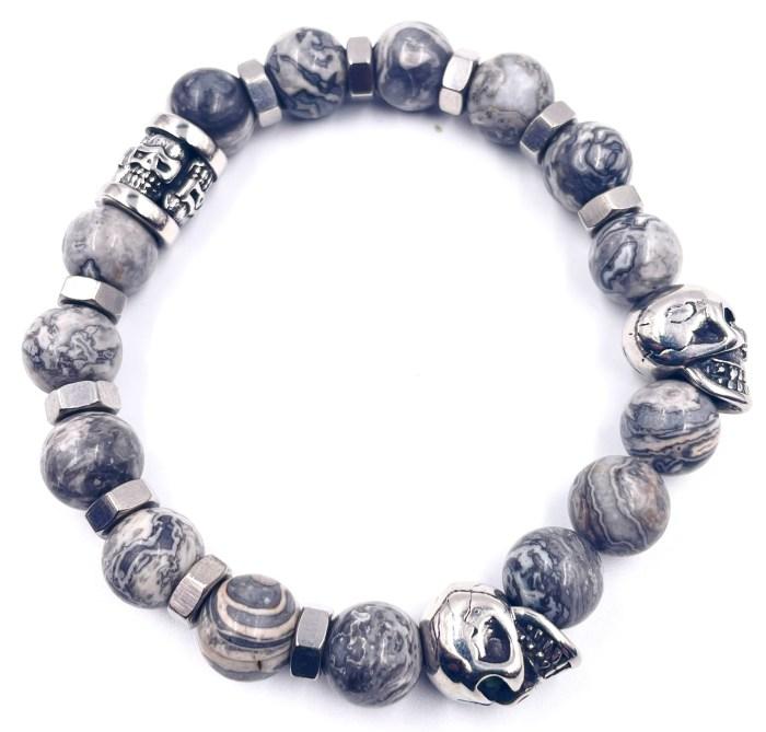 bracelet perle de jaspe tête de mort vitoartmetal