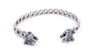 Bracelet jonc Simple écrous Acier inoxydable tête de Loup