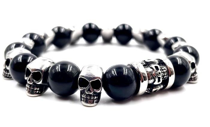 Bracelet obsidiennes et tête de mort vitoartmétal