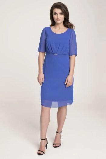 Kobaltowa sukienka z szyfonu kryształkami polskiej marki Vito Vergelis
