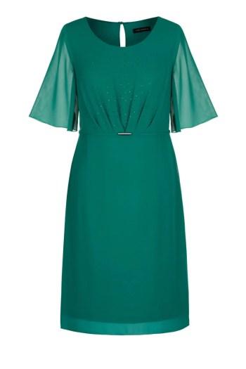 Zielona sukienka Vito Vergelis z szyfonu z kryształkami i marszczeniem.