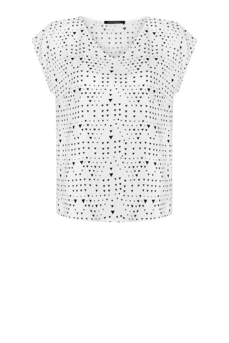 Biała bluzka damska z wiskozy na lato. Krótki rękaw, dekolt V. Bluzka marki Vito Vergelis