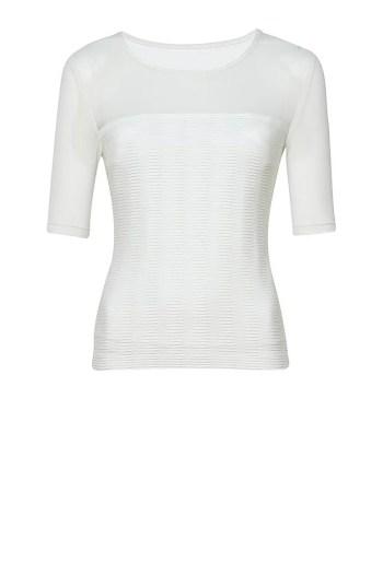 biała bluzka Vito Vergelis z wstawką z tiulu