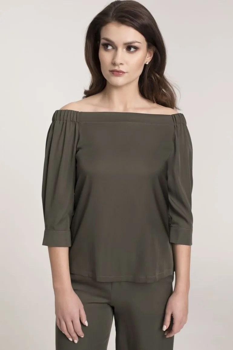 Bluzka hiszpanka zielona i szerokie spodnie damskie marki Vito Vergelis