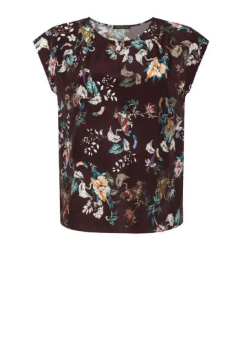 Brązowa bluzka damska z wiskozy w kwiaty. Bluzka na lato krótki rękaw, półokrągły dekolt. Vito Vergelis.