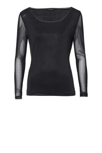 czarna bluzka wizytowa z rękawami z siateczki markia Vito Vergelis