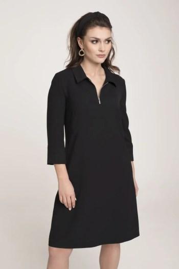 czarna sukienka codzienna z kołnierzykiem polskiej marki Vito Vergelis