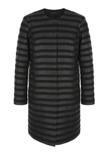 Czarny płaszcz w paski. Blezer Vito Vergelis