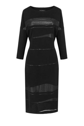 Długa czarna sukienka wizytowa z błyszczącymi wstawkami marki Vito Vergelis