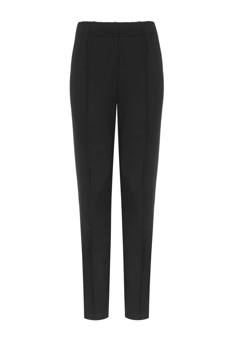 dzianinowe spodnie damskie czarne na gumie. Legginsy z przeszyciami marki Vito Vergelis