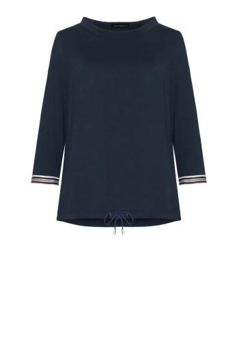 Linia basic Vito Vergelis. Granatowa bluzka dzianinowa ze stójką i kontrastowymi mankietami