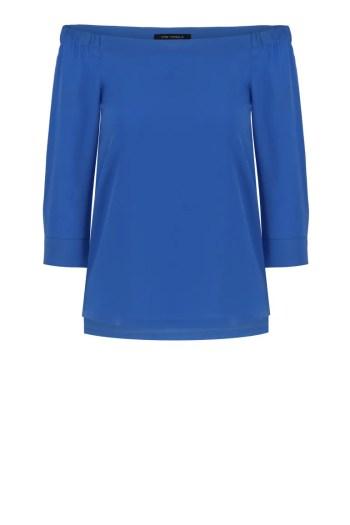 niebieska bluzka z dekoltem carmen. bluzka hiszpanka polskiej marki Vito Vergelis