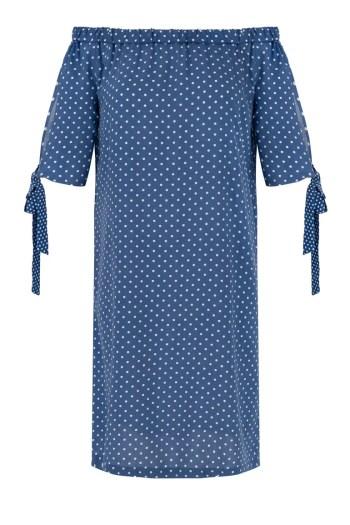 Niebieska sukienka w kropki z wiskozy. Sukienka hiszpanka polskiej marki Vito Vergelis