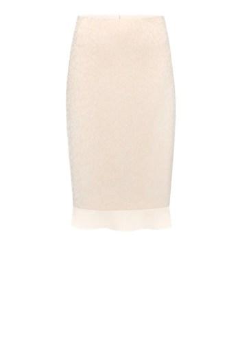 Wizytowa spódnica z falbanką - pudrowy róż polskiej marki Vito Vergelis.