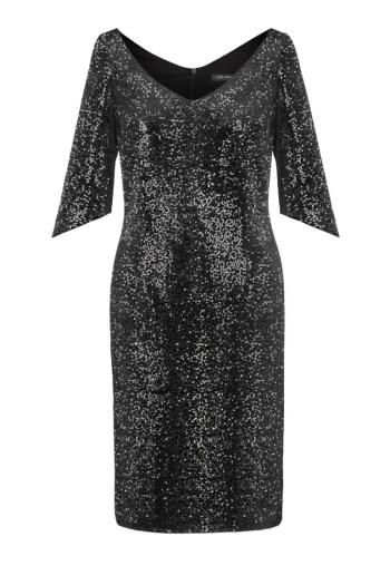 Linia wizytowa. Czarna cekinowa sukienka wizytowa Vito Vergelis z dekoltem V rękawem do łokcia. Kolekcja sylwestrowa.