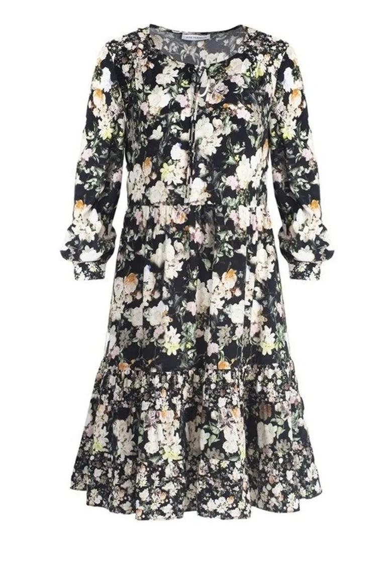 sukienka w kwiatki z cupro z wiskozą Vito Vergelis