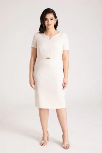 jasna sukienka wizytowa z tloczonej tkaniny Vito Vergelis. Kolekcja wizytowa.