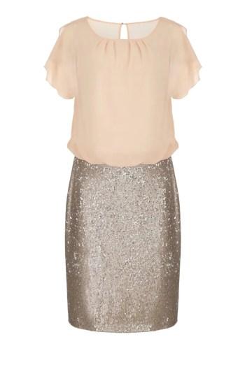 wizytowa sukienka z cekinową spódnicą i szyfonową górą polskiej marki Vito Vergelis
