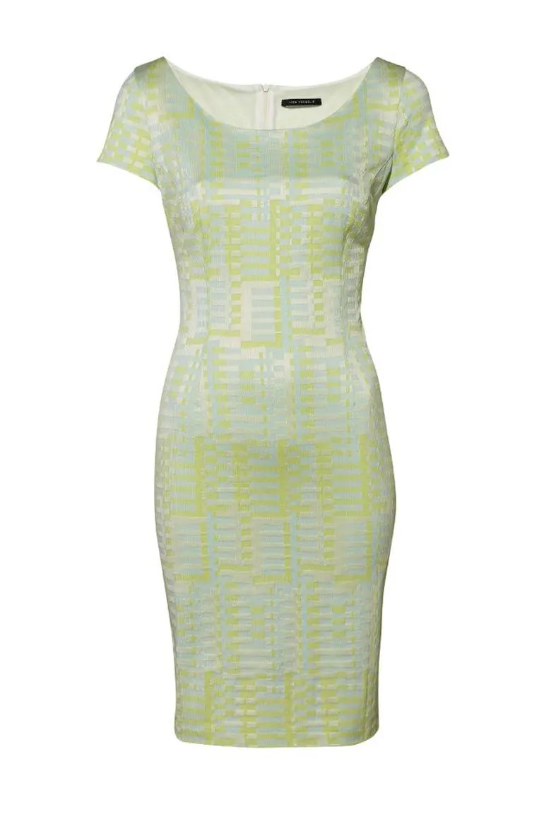 Pastelowa sukienka ołówkowa wizytowa linia polska marka Viro Vergelis