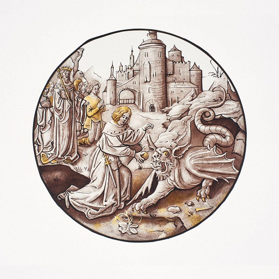 Rondel d'inspiration moyen-age peint à la grisaille et au jaune d'argent.