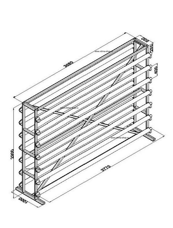 Стенд для линолеума 3,5 м х 14 рулонов двухсторонний