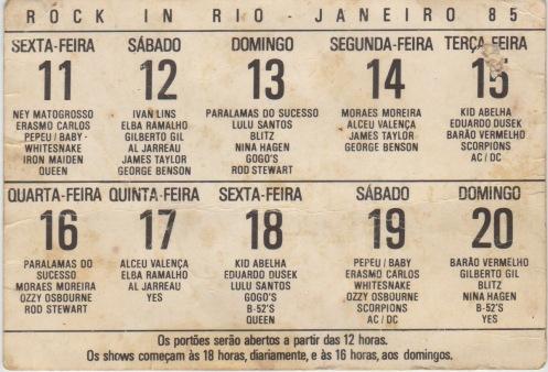 rock en rio programación 1985