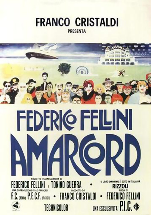 locandina film Amarcord (sceneggiatura F. Fellini - T. Guerra)