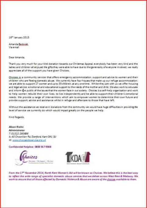 A letter of thanks from Choices Organisation