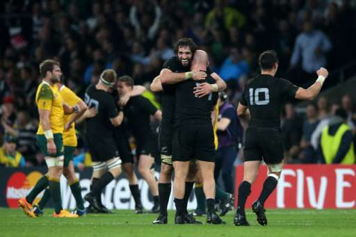 LONDON, ENGLAND - OCTOBER 31:  Sam Whitelock of New Zealand and Ben Franks of New Zealand celebrate victory during the 2015 Rugby World Cup Final match between New Zealand and Australia at Twickenham Stadium on October 31, 2015 in London, United Kingdom.  (Photo by David Rogers/Getty Images)