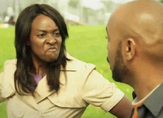 Angry black woman hitting a man
