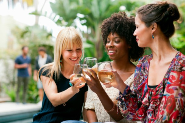 Female friends toasting with wine