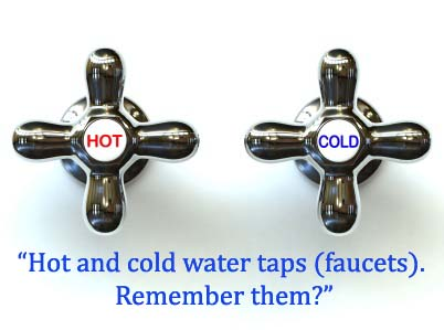 Hot and cold taps on a white background.