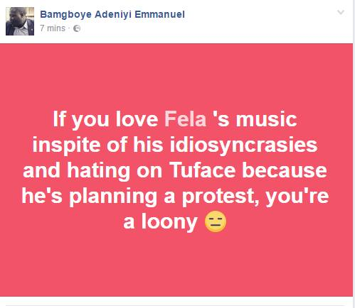 2face protest and Fela comparison