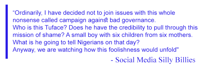 Comment on 2Baba Protest