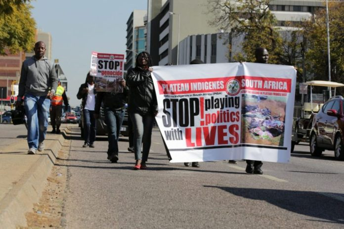 Protest March by Nigerians In South Africa against the Plateau Killings -4