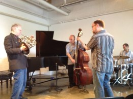 David rehearses with Les Alt, Roberto Occhipinti, and Mark Kelso at Gallery 345 in Toronto.