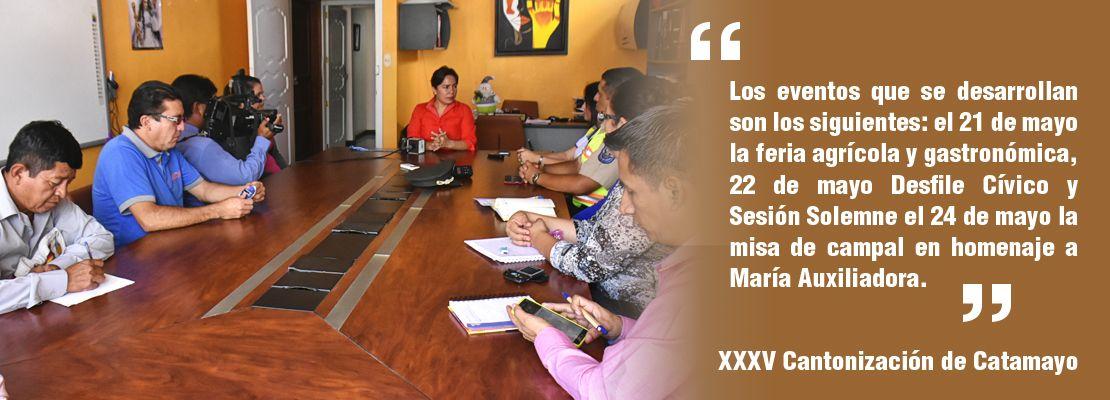 Anuncian los eventos que se desarrollaran por celebrarse los XXXV Aniversario de Cantonización de Catamayo.