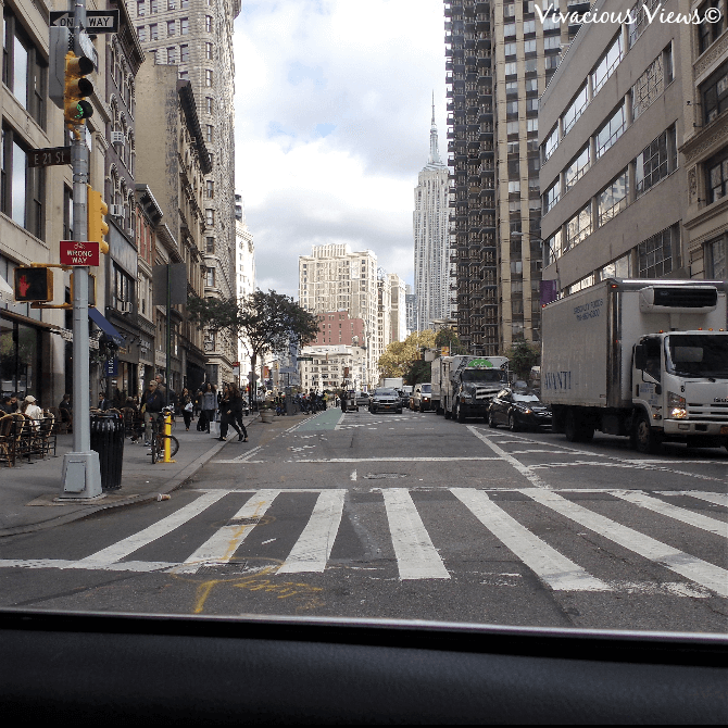 October Trip to New York City. Empire State Building View from a Taxi-Cab