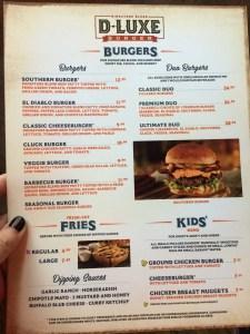 D-Luxe Burger. Menu-Front. Vivacious Views