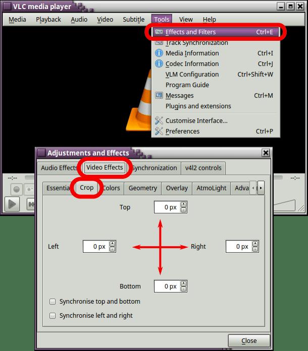 Recortar el área de visualización de un vídeo en VLC