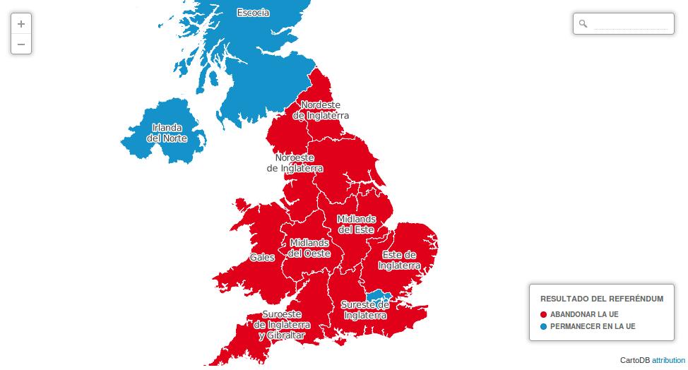 Resultado del referéndum por regiones del Reino Unido