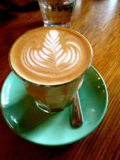 Latte at The Grounds, best coffee in Sydney! Best cafe experience in Sydney!