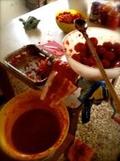 The tomato paste making machine.