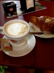 I love Italian breakfasts. A dam good cappuccino and a croissant filled with white chocolate. Heaven in Bologna.